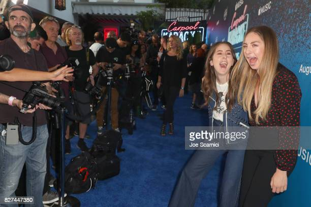 Alana Haim and Este Haim of HAIM at Apple Music Launch Party Carpool Karaoke The Series with James Corden on August 7 2017 in West Hollywood...