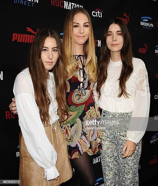 Alana Haim Este Haim and Danielle Haim of the band Haim attend the Roc Nation Grammy brunch on February 7 2015 in Beverly Hills California