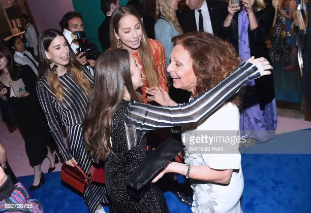 Alana Haim Este Haim Danielle Haim and Diane Von Furstenberg attend the 2017 CFDA Fashion Awards Cocktail Hour at Hammerstein Ballroom on June 5 2017...