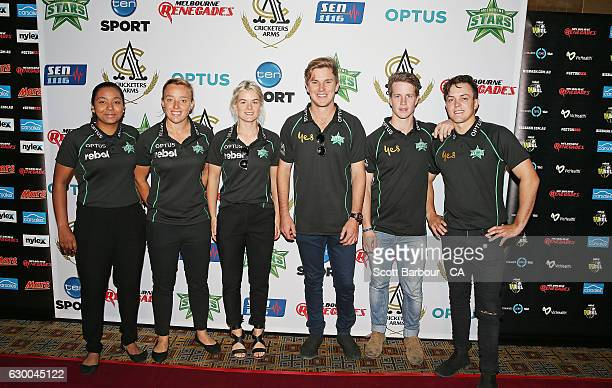 Alana King Katie Mack Adam Zampa Sam Harper and Seb Gotch of the Stars BBL and WBBL teams attend the Melbourne Stars Rivalry Lunch at Crown Palladium...