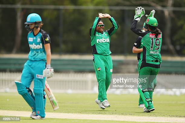 Alana King of the Stars celebrates her wicket of Jessica Jonassen of the Heat during the Women's Big Bash League match between the Brisbane Heat and...