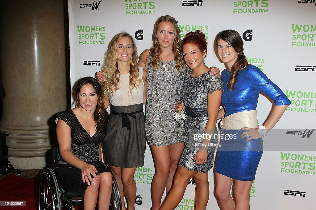 Alana Nichols, Chanelle Sladics, Grete Eliassen, <a gi-track='captionPersonalityLinkClicked' href=/galleries/search?phrase=Elena+Hight&family=editorial&specificpeople=818973 ng-click='$event.stopPropagation()'>Elena Hight</a>, and Lyn-Z Adams Hawkins Pastrana attend the 33rd Annual Salute To Women In Sports Gala at Cipriani Wall Street on October 17, 2012 in New York City.