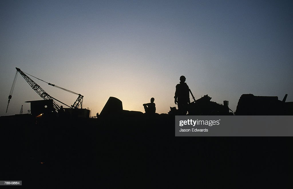 Alang Ship Breaking Yards, Gujarat State, India. : Stock Photo
