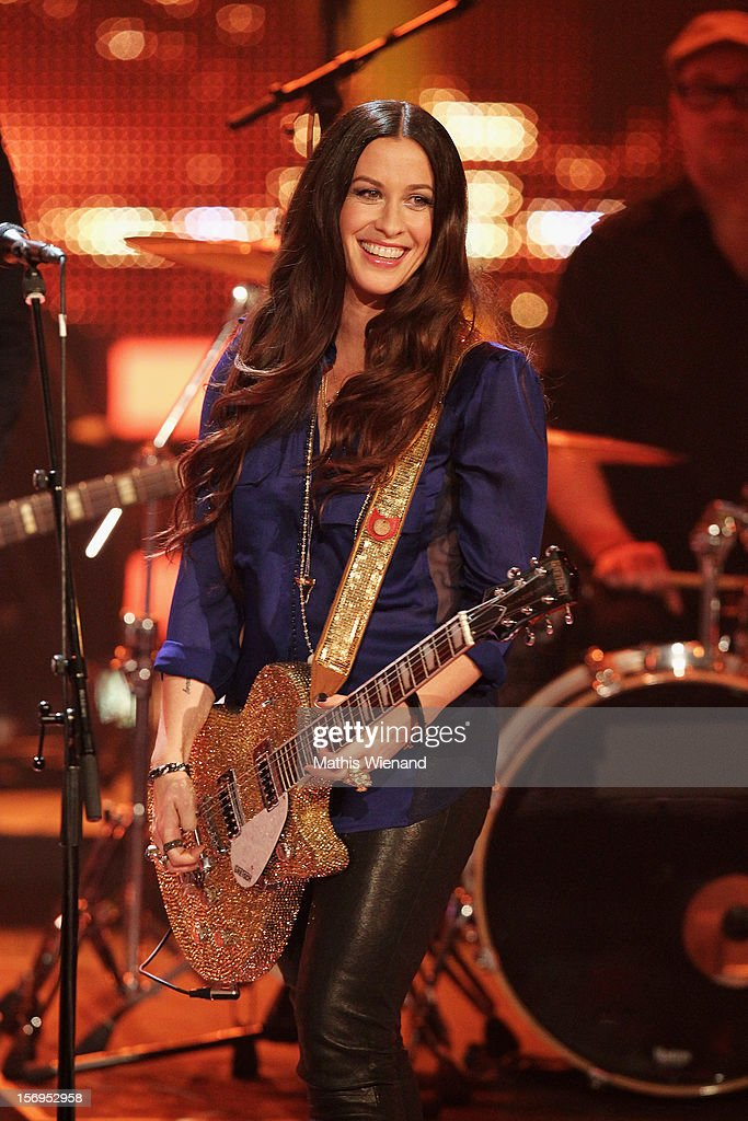Alanis Morissette attends the fourth and final 'X-Factor' Show on November 25, 2012 in Cologne, Germany.