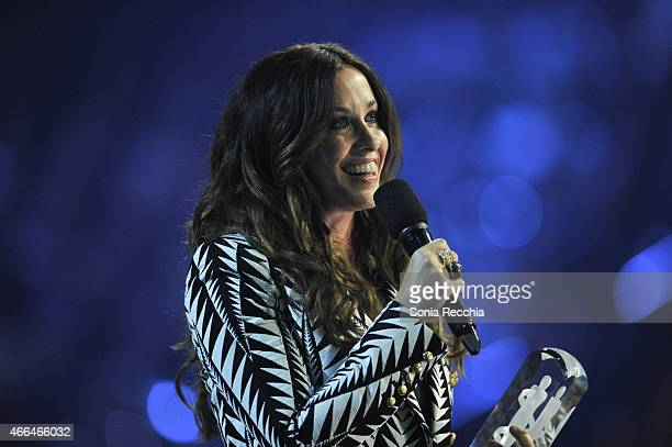 Alanis Morissette is presented an award at the 2015 JUNO Awards at FirstOntario Centre on March 15 2015 in Hamilton Canada