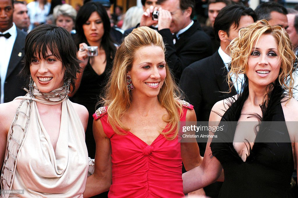 <a gi-track='captionPersonalityLinkClicked' href=/galleries/search?phrase=Alanis+Morissette&family=editorial&specificpeople=171150 ng-click='$event.stopPropagation()'>Alanis Morissette</a>, <a gi-track='captionPersonalityLinkClicked' href=/galleries/search?phrase=Sheryl+Crow&family=editorial&specificpeople=201867 ng-click='$event.stopPropagation()'>Sheryl Crow</a> and <a gi-track='captionPersonalityLinkClicked' href=/galleries/search?phrase=Lara+Fabian&family=editorial&specificpeople=228901 ng-click='$event.stopPropagation()'>Lara Fabian</a> during 2004 Cannes Film Festival - 'De Lovely' - Premiere.