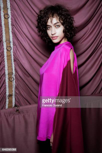 Alanna Arrington poses backstage before the Koche show as part of the Paris Fashion Week Womenswear Fall/Winter 2017/2018 on February 28 2017 in...
