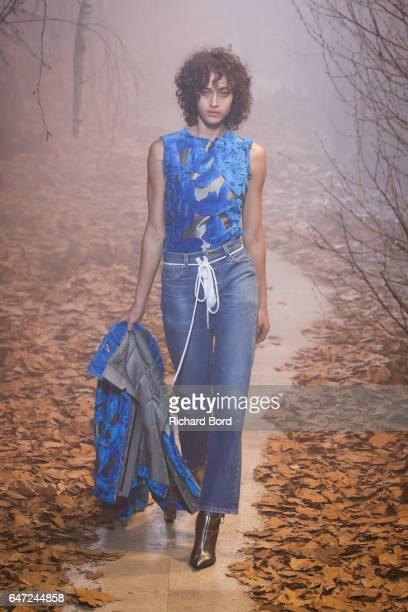 Alanna Arrington walks the runway during the OffWhite show at Palais de Tokyo as part of the Paris Fashion Week Womenswear Fall/Winter 2017/2018 on...