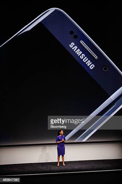 Alanna Cotton vice president of mobile computing marketing for Samsung Electronics Co speaks during the Samsung Unpacked 2015 event in New York US on...