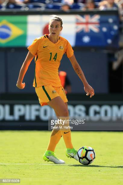 Alanna Kennedy of Australia makes a pass during the second half of a match against Japan in the 2017 Tournament of Nations at Qualcomm Stadium on...