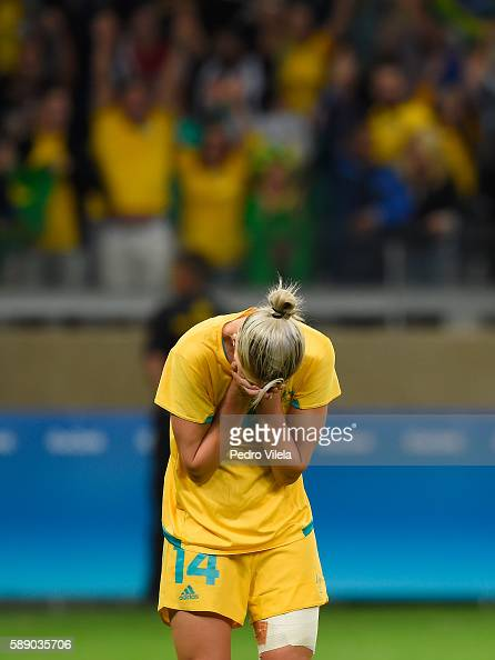 Alanna Kennedy of Australia reacts after their 00 loss to Brazil during the Women's Football Quarterfinal match at Mineirao Stadium on Day 7 of the...