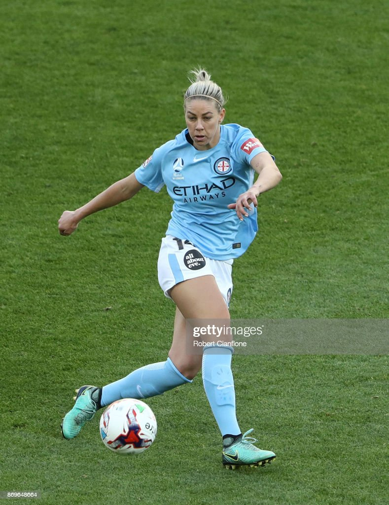 Alanna Kennedy of Melbourne City kicks the ball during the round two W-League match between Melbourne City FC and Melbourne Victory at AAMI Park on November 3, 2017 in Melbourne, Australia.