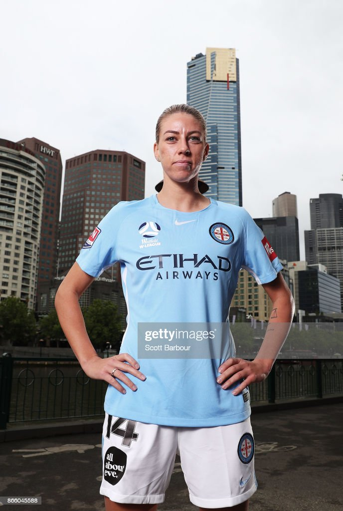 Alanna Kennedy of Melbourne City Womens team poses during a Melbourne City W-League media opportunity at SBS Studios on October 25, 2017 in Melbourne, Australia.