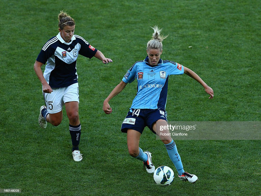 Alanna Kennedy of Sydney FC controls the ball during the W-League Grand Final between the Melbourne Victory and Sydney FC at AAMI Park on January 27, 2013 in Melbourne, Australia.