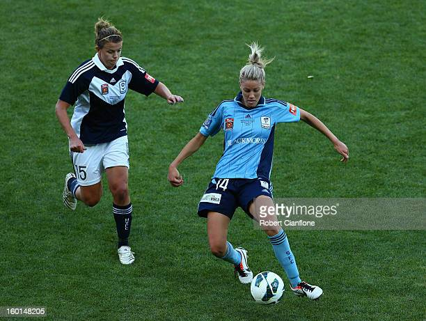 Alanna Kennedy of Sydney FC controls the ball during the WLeague Grand Final between the Melbourne Victory and Sydney FC at AAMI Park on January 27...
