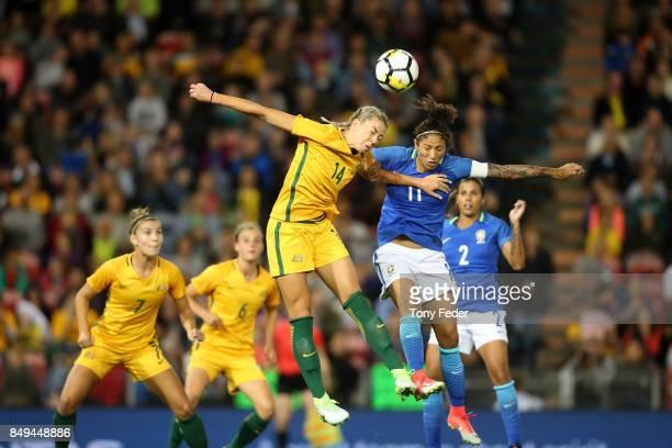 Alanna Kennedy of the Matildas and Cristiane Rozeira de Souza Silva of Brazil contest a header during the Women's International match between the...