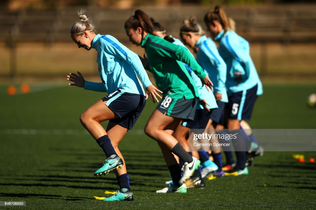 Alanna Kennedy of the Matildas and team mates warm up during a Matildas training session on September 14, 2017 in Sydney, Australia.