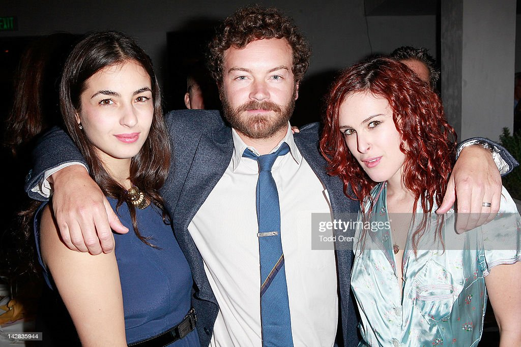Alanna Masterson, Danny Masterson and Rumer Willis pose during an evening benefiting The New York Rescue Workers and Gulf Coast Detoxification Projects at Fig & Olive Melrose Place on April 12, 2012 in West Hollywood, California.