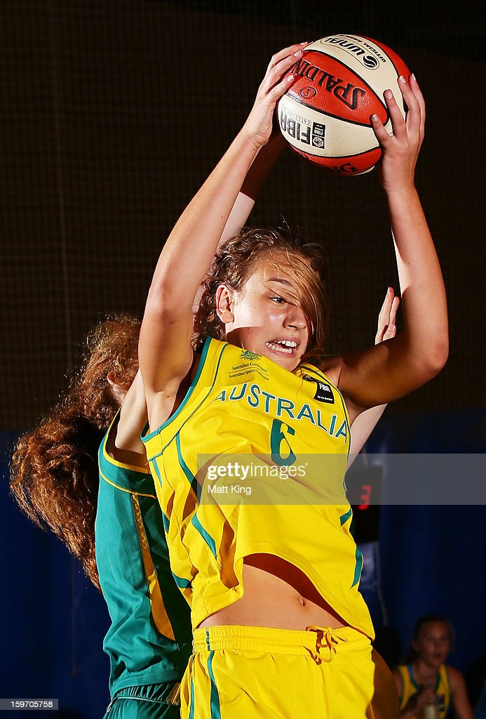 Alanna Smith of Australia Gold competes in the Women's gold medal playoff against Australia Green during day four of the Australian Youth Olympic Festival at Sydney Boys High School on January 19, 2013 in Sydney, Australia.