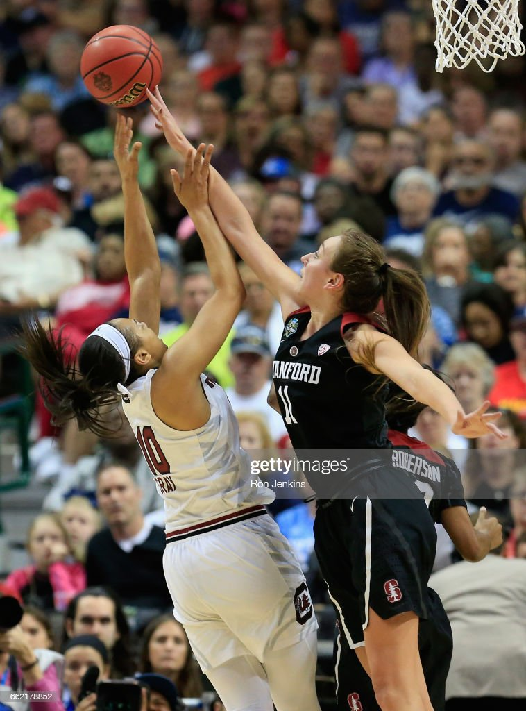 Alanna Smith #11 of the Stanford Cardinal blocks a shot by Allisha Gray #10 of the South Carolina Gamecocks in the second half during the semifinal round of the 2017 NCAA Women's Final Four at American Airlines Center on March 31, 2017 in Dallas, Texas. The South Carolina Gamecocks won 62-53.