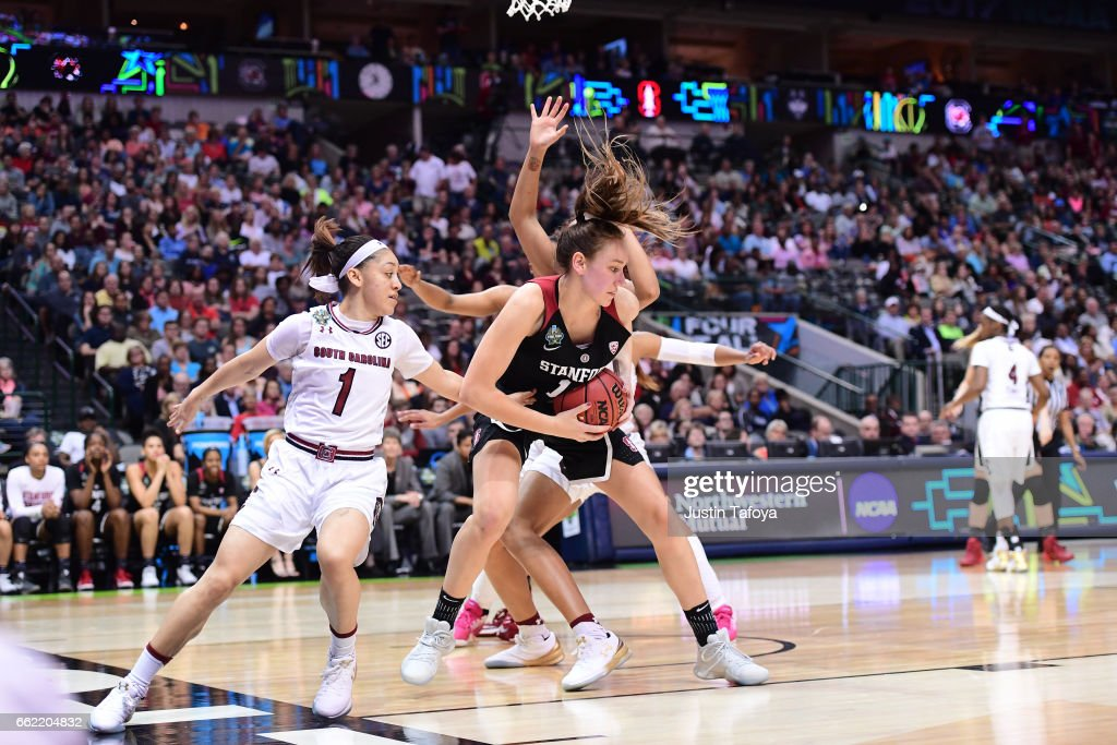Alanna Smith #11 of the Stanford Cardinal fights for the ball during the 2017 Women's Final Four at American Airlines Center on March 31, 2017 in Dallas, Texas.