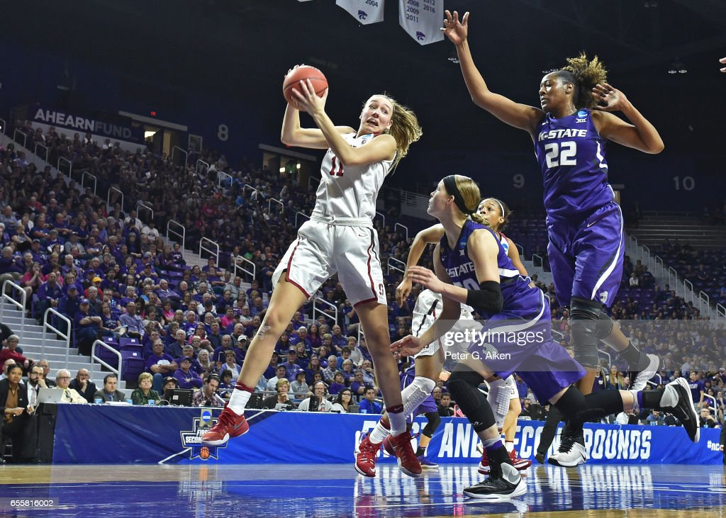 Alanna Smith #11 of the Stanford Cardinal goes up for a rebound against Breanna Lewis #22 of the Kansas State Wildcats during the second round of the 2017 NCAA Women's Basketball Tournament at Bramlage Coliseum on March 20, 2017 in Manhattan, Kansas.