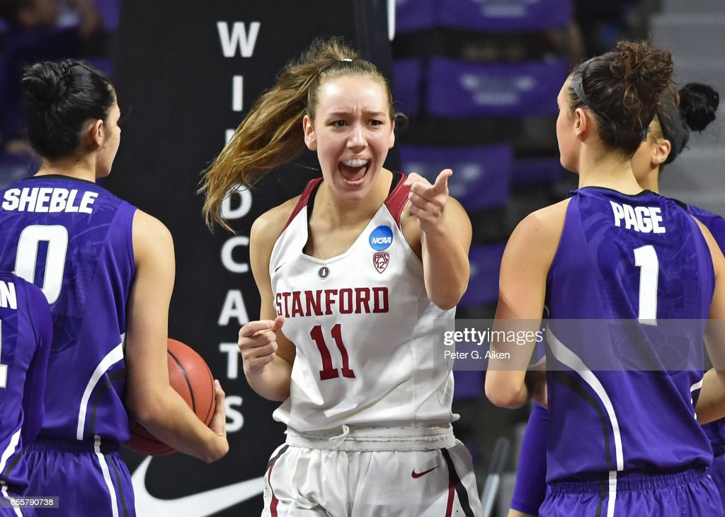 Alanna Smith #11 of the Stanford Cardinal reacts after scoring a basket against the Kansas State Wildcats during the second round of the 2017 NCAA Women's Basketball Tournament at Bramlage Coliseum on March 20, 2017 in Manhattan, Kansas.