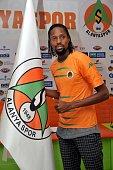 Alanyaspor's new transfer Abdoulaye Ba poses after the contract signing ceremony at Cengiz Aydogan Sports Facilities in Antalya Turkey on July 26...