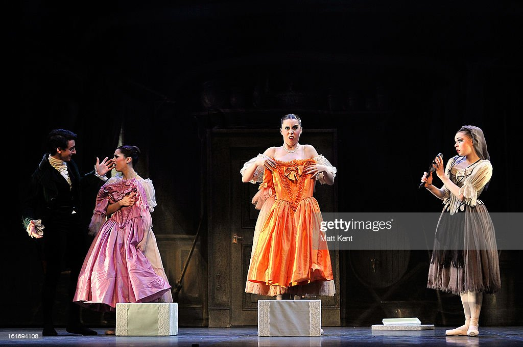 Alanze Lopez Extebarria and Gretel Palfrey as the step sisters and Daniela Oddi as Cinderella perform during the dress rehearsal for the English National Ballet's 'My First Cinderella' at The Peacock Theatre on March 26, 2013 in London, England.