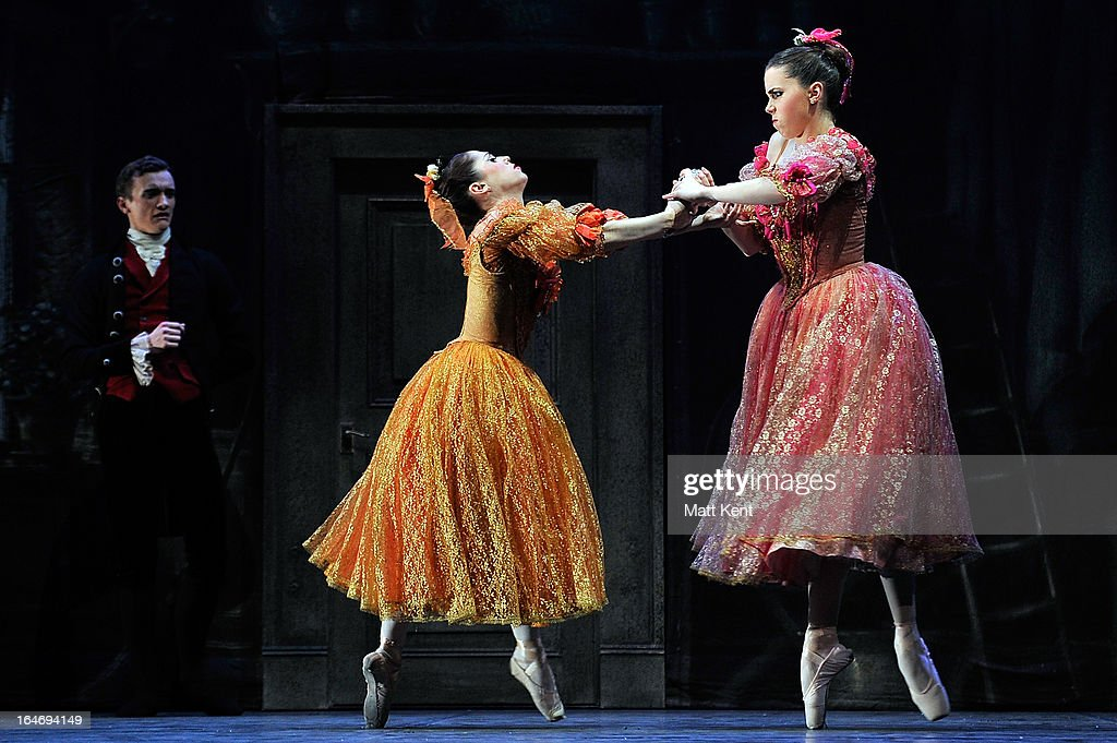 Alanze Lopez Extebarria (L) and Gretel Palfrey perform as one of the step sisters during the dress rehearsal for the English National Ballet's 'My First Cinderella' at The Peacock Theatre on March 26, 2013 in London, England.