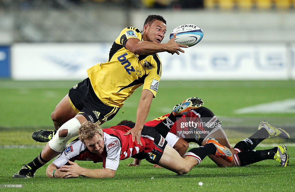 Alapati Leiua of the Hurricanes is tackled by <a gi-track='captionPersonalityLinkClicked' href=/galleries/search?phrase=Jano+Vermaak&family=editorial&specificpeople=538905 ng-click='$event.stopPropagation()'>Jano Vermaak</a> of the Lions during the round 16 Super Rugby match between the Hurricanes and the Lions at Westpac Stadium on June 4, 2011 in Wellington, New Zealand.