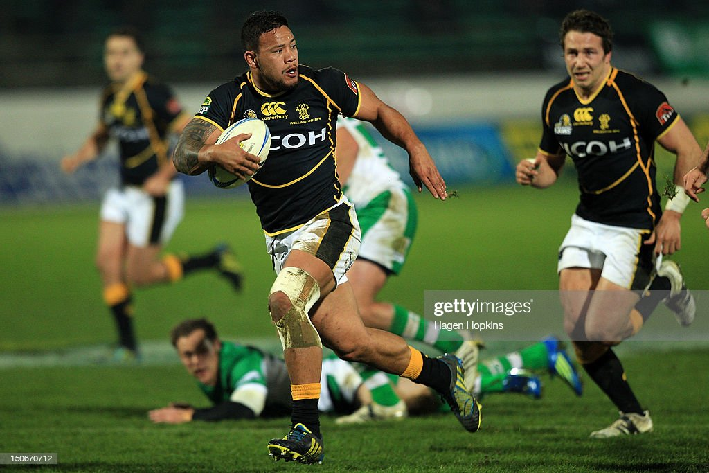 Alapati Leiua of Wellington runs the ball during the round one ITM Cup match between Manawatu and Wellington at FMG Stadium on August 24, 2012 in Palmerston North, New Zealand.