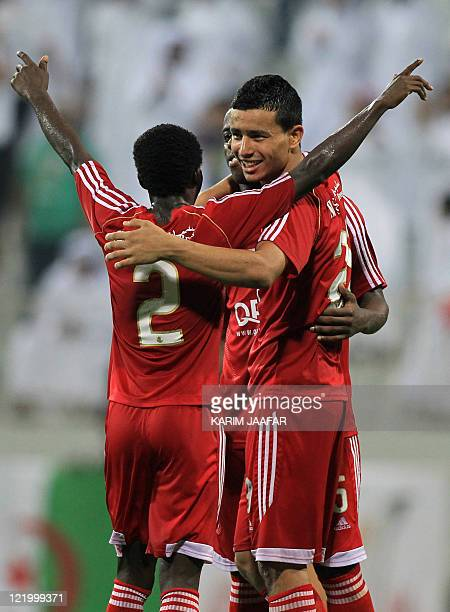 AlArabi's players celebrate after beating Umm Salal to win the Sheikh Jassem Cup in the Qatari capital Doha late on August 24 2011 Arabi won 32 AFP...