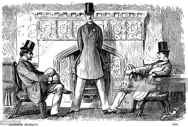 'Alarming Scarcity' 1874 A print from Society Pictures drawn by George du Maurier selected from Punch Volume I London 1891
