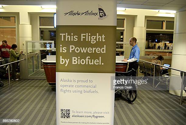 Alaska airlines this flight is powwered by biofuels alska is proud operate commercial flgiths using biofuels from small distance from Seattle...