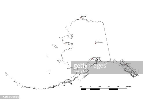 Alaska Black And White State Outline With Major Cities Stock - Alaska state map with cities
