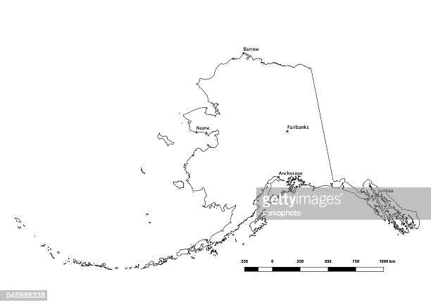 Alaska Black and White State Outline with Major Cities 2015