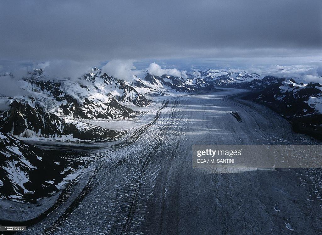 USA, Alaska, Denali National Park, glacier at Mount McKinley.