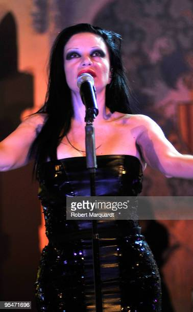 Alaska from the Spanish group Fangoria performs in support of their latest work 'Absolutamente' at the Palau de la Musica on December 28 2009 in...