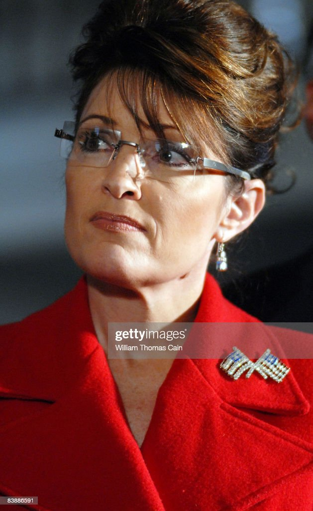 Alaska Governor Sarah Palin answers questions from the media at the meeting of the National Governor's Association after the governors spoke with President-Elect Barack Obama and Vice-President -Elect Joe Biden at Independence Hall December 2, 2008 in Philadelphia, Pennsylvania. Obama pledged to include the state governments in the forming a package to help them through the tough economic times.