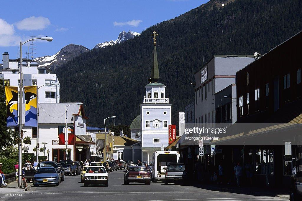 USA Alaska Inside Passage Baranof Island Sitka Street Scene With St Michael's Cathedral