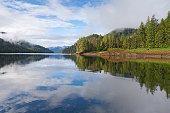 USA, Alaska, Ketchikan, Bailey Bay Hot Springs, Reflection of clouds in water