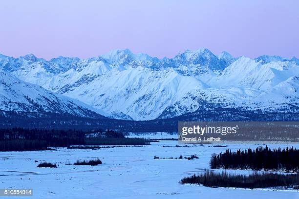 Alaska Range Mountains After Sunset