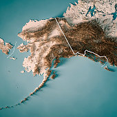 3D Render of a Topographic Map of the US state of Alaska. All source data is in the public domain. Color texture: Made with Natural Earth.  http://www.naturalearthdata.com/downloads/10m-raster-data/10