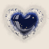 alaska state flag on a grunge heart. United states local flags. 3D illustration