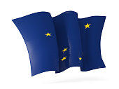 alaska state flag waving icon close up. United states local flags. 3D illustration