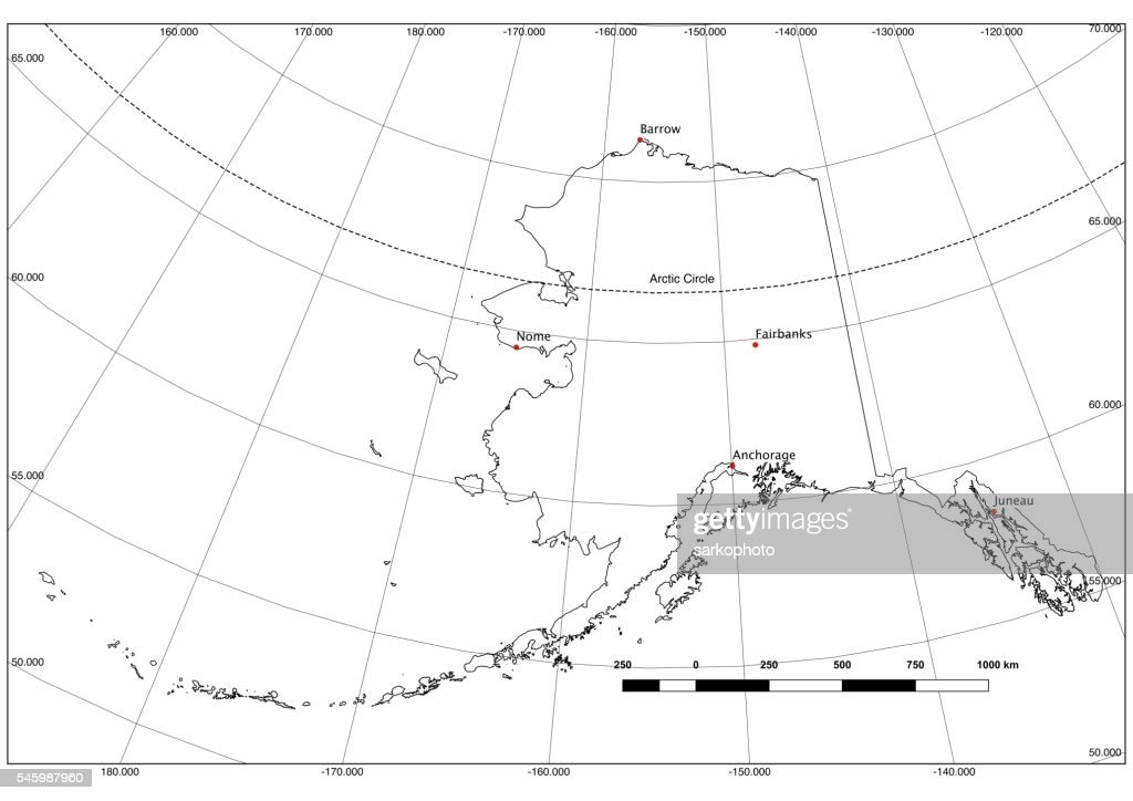 Alaska State Outline In Black And White Latlong Major Cities Stock