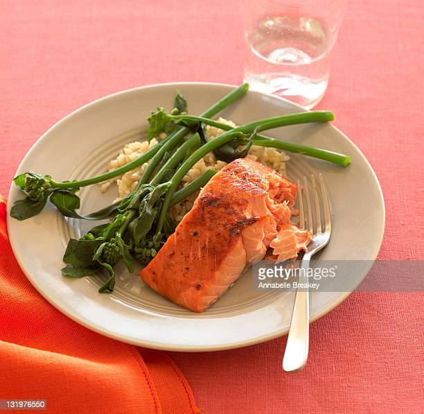 Alaskan Salmon with Steamed Broccolini and Rice
