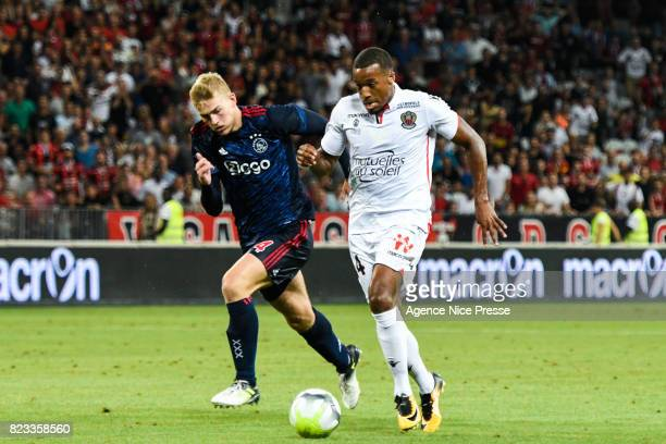 Alassane Plea of Nice and Matthijs De Ligt of Ajax during the UEFA Champions League Qualifying match between Nice and Ajax Amsterdam at Allianz...