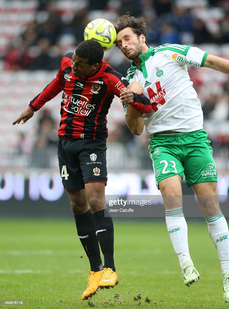 Alassane Plea of Nice and Paul Baysse of Saint-Etienne in action during the French Ligue 1 match between OGC Nice and AS Saint-Etienne, ASSE, at the Allianz Riviera stadium on December 14, 2014 in Nice, France.